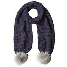 Buy White Stuff Rennie Faux Fur Pom Pom Scarf, Navy Online at johnlewis.com