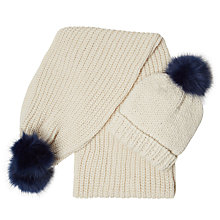 Buy White Stuff Rennie Faux Fur Pom Hat And Scarf Set, Winter White Online at johnlewis.com