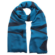 Buy Mulberry Logo Jacquard Scarf, Teal Online at johnlewis.com