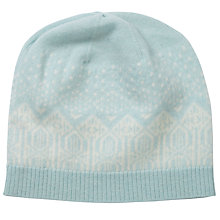 Buy Pure Collection Isabelle Cashmere Fair Isle Hat, Opal/Soft White Online at johnlewis.com