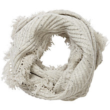 Buy Pure Collection Athena Cashmere Fringed Snood, Heather Grey Fleck Online at johnlewis.com