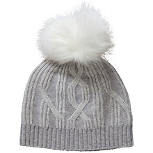 Buy Pure Collection Rebecca Cashmere Cable Hat, Heather Dove/Soft White Online at johnlewis.com