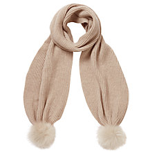 Buy Pure Collection Renee Purist Cashmere Pom Scarf, Natural Online at johnlewis.com