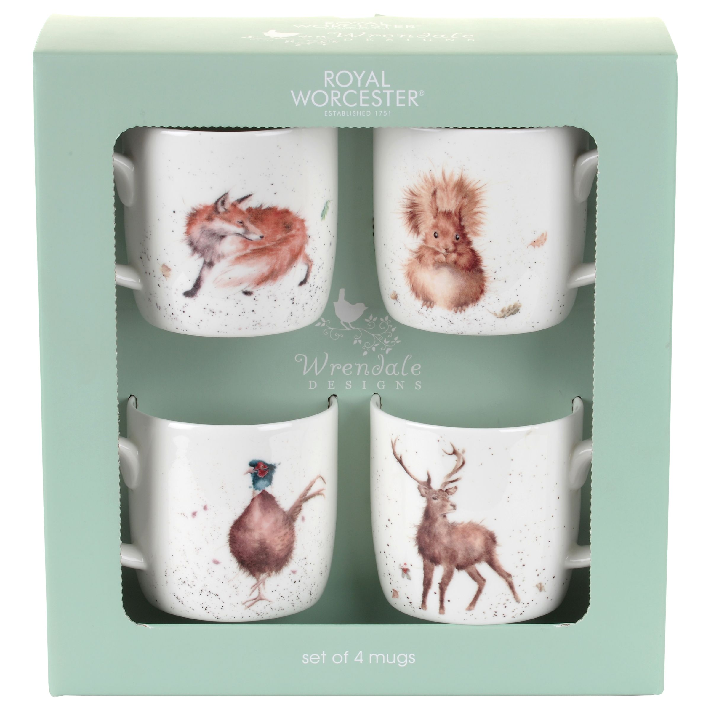 Royal Worcester Royal Worcester Wrendale Wild Animals Mugs, Set of 4