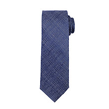 Buy John Lewis Slub Stripe Silk Tie, Navy/Silver Online at johnlewis.com