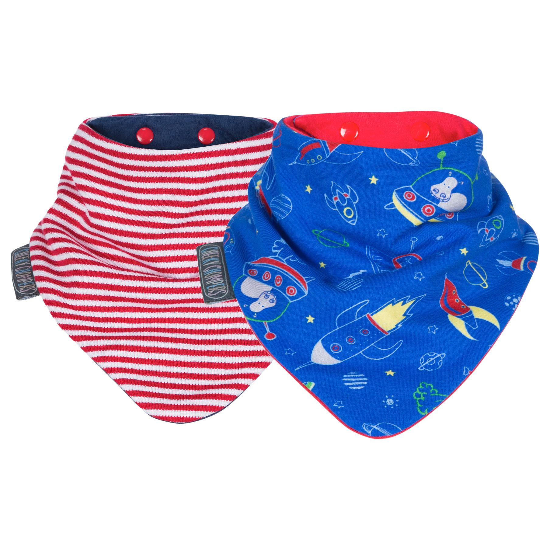 Cheeky Chompers Cheeky Chompers Baby Neckerbib, Chic/Space, Pack of 2
