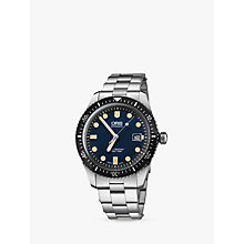 Buy Oris 733 7720 4055-07 8 21 18 Men's Divers Sixty-Five Automatic Date Bracelet Strap Watch, Silver/Blue Online at johnlewis.com