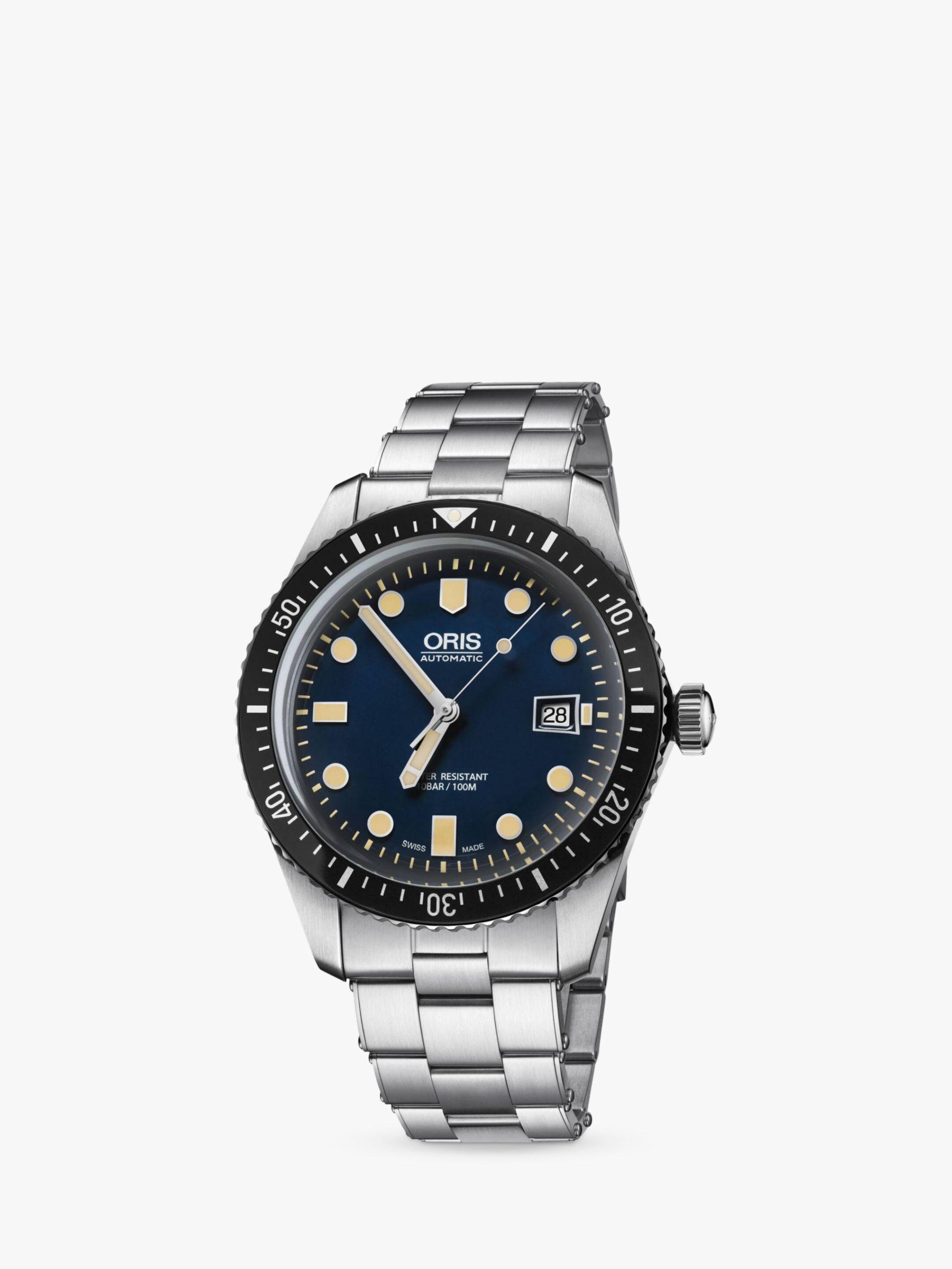 Oris Oris 733 7720 4055-07 8 21 18 Men's Divers Sixty-Five Automatic Date Bracelet Strap Watch, Silver/Blue