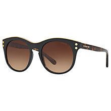 Buy Coach HC8190 Oval Sunglasses, Black/Brown Gradient Online at johnlewis.com