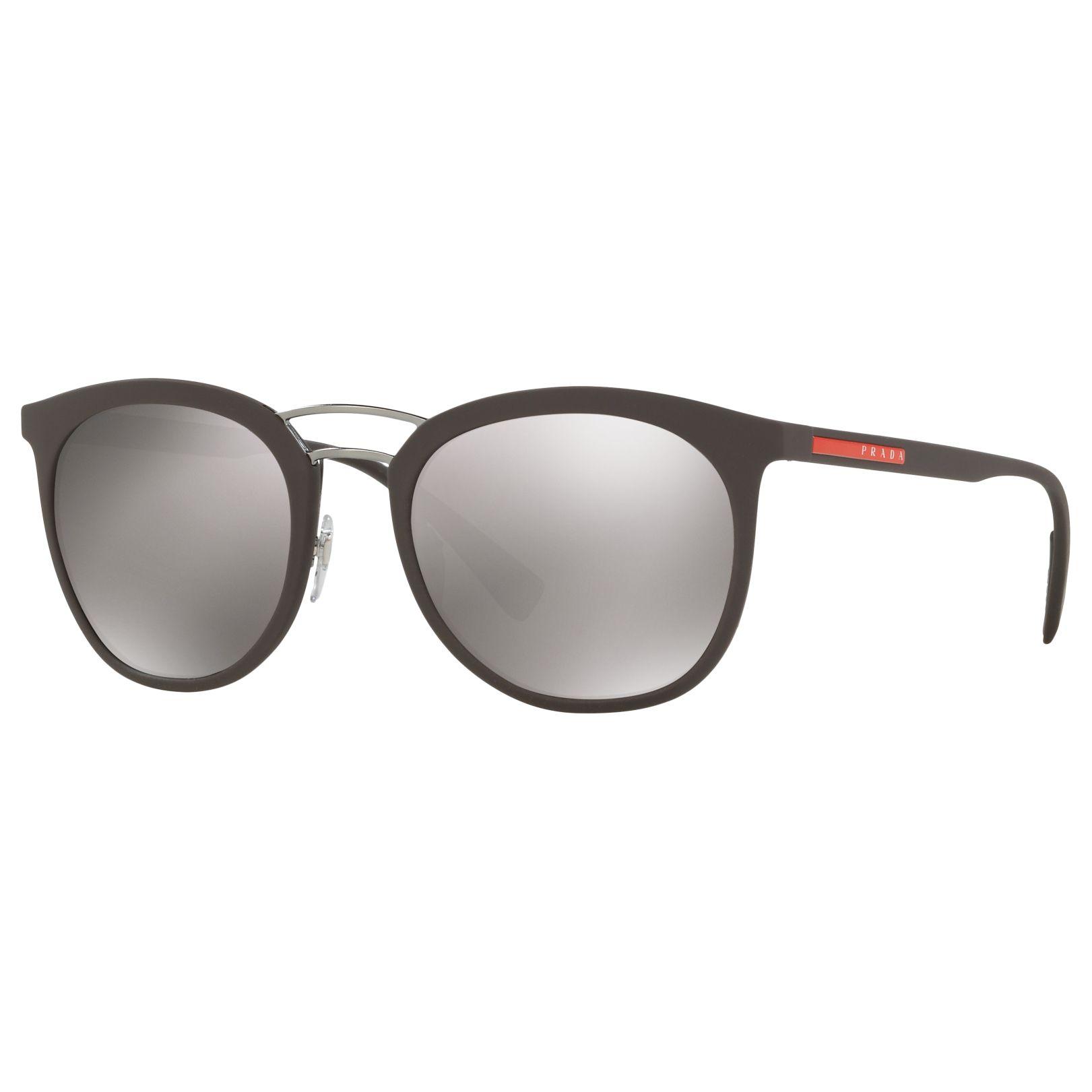 Prada Linea Rossa Prada Linea Rossa PS 04SS Polarised Oval Sunglasses, Matte Brown/Mirror Grey