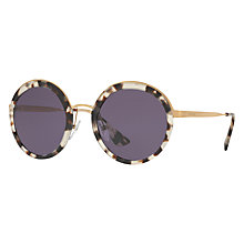Buy Prada PR 50TS Round Sunglasses, Tortoise/Purple Online at johnlewis.com