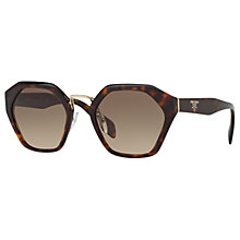 Buy Prada PR 04TS Pentagonal Sunglasses, Tortoise/Brown Gradient Online at johnlewis.com