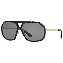 Buy Dolce & Gabbana DG2167 Polarised Aviator Sunglasses, Black/Grey Online at johnlewis.com
