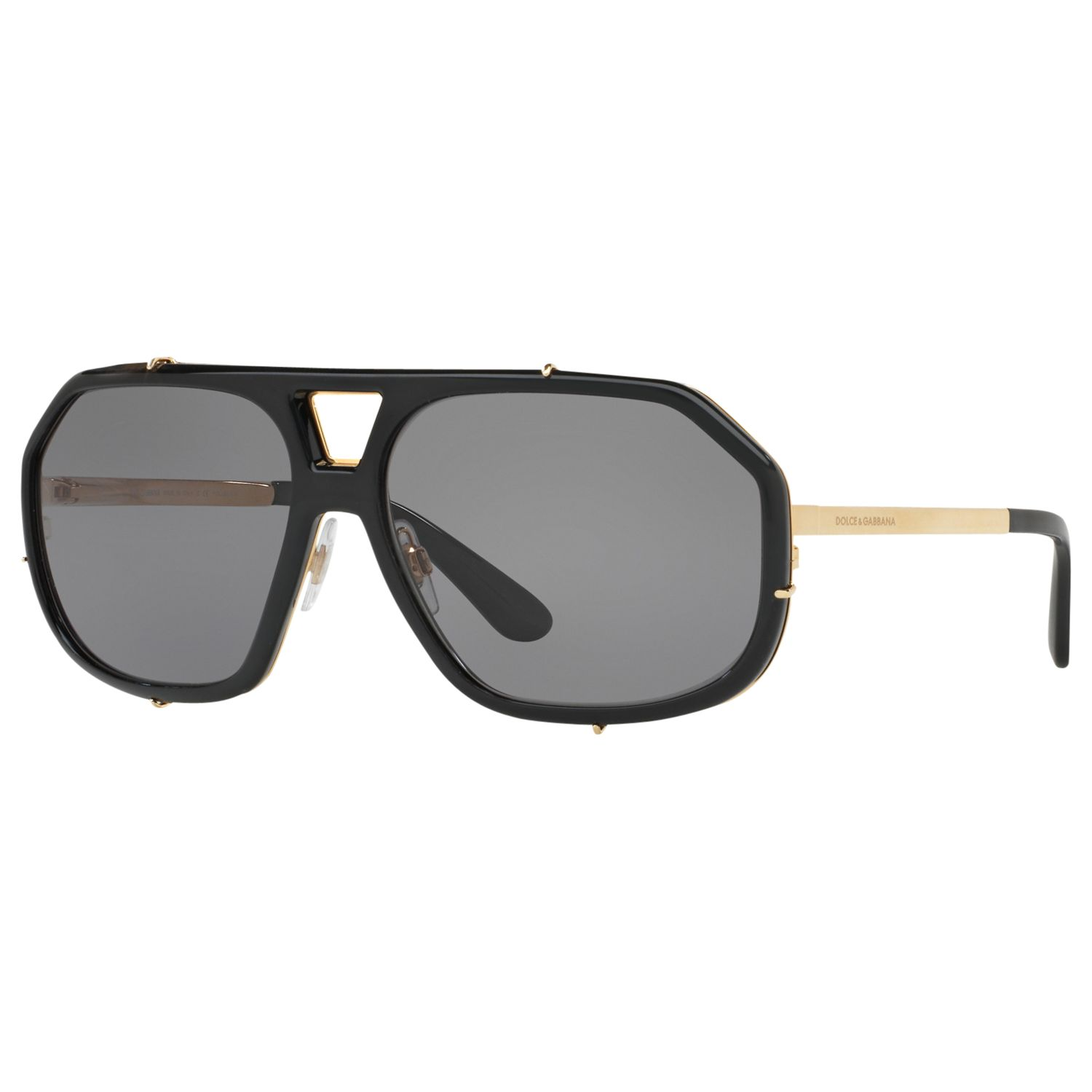 Dolce & Gabbana Dolce & Gabbana DG2167 Polarised Aviator Sunglasses, Black/Grey
