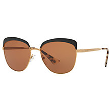 Buy Prada PR 51TS Square Sunglasses, Gold/Brown Online at johnlewis.com