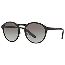 Buy Prada Linea Rossa PS 01SS Oval Sunglasses, Black/Grey Gradient Online at johnlewis.com