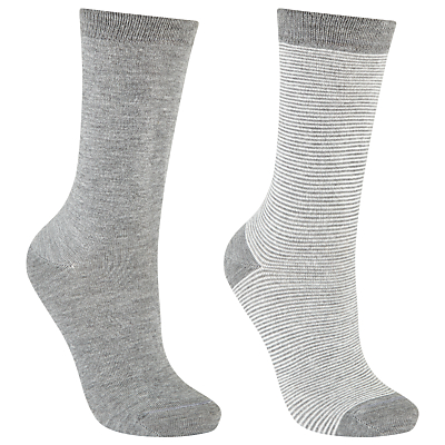 John Lewis Stripe and Monochrome Ankle Socks, Pack of 2, Feeder/Grey