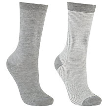 Buy John Lewis Stripe and Monochrome Ankle Socks, Pack of 2, Feeder/Grey Online at johnlewis.com