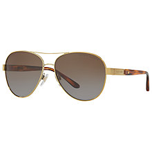 Buy Ralph Lauren RL7054Q Polarised Aviator Sunglasses, Gold/Brown Gradient Online at johnlewis.com