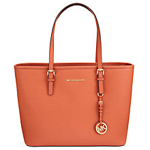 Buy MICHAEL Michael Kors Jet Set Travel Leather Tote Bag, Orange Online at johnlewis.com