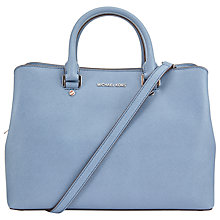 Buy MICHAEL Michael Kors Savannah Large Leather Satchel, Denim Online at johnlewis.com
