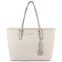 Buy MICHAEL Michael Kors Jet Set Travel Leather Tote Bag, Cement Online at johnlewis.com