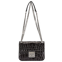 Buy MICHAEL Michael Kors Sloan Editor Medium Leather Chain Shoulder Bag, Black Online at johnlewis.com
