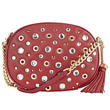 Buy MICHAEL Michael Kors Ginny Stud Medium Across Body Bag, Cherry Online at johnlewis.com
