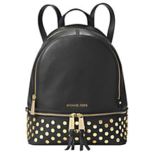 Buy MICHAEL Michael Kors Rhea Leather Lace Medium Backpack, Black Online at johnlewis.com
