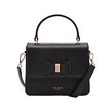 Buy Ted Baker 	Calila Leather Across Body Bow Bag, Black Online at johnlewis.com
