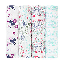 Buy Aden + Anais Disney Bambi Baby Swaddle Blanket, Pack of 4 Online at johnlewis.com