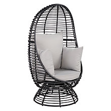 Buy John Lewis Dakara (Fusion) Cabana Swivel Pod Chair, Black Online at johnlewis.com