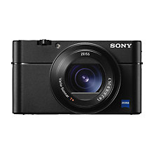 "Buy Sony Cyber-shot RX-100 V Camera, 4K, 20.1MP, 2.9x Optical Zoom, Wi-Fi, NFC, OLED EVF, 3"" Tiltable Screen Online at johnlewis.com"