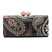 Buy Ted Baker Allthea Matinee Fold Over Kiss Lock Purse, Black/Fuchsia Online at johnlewis.com