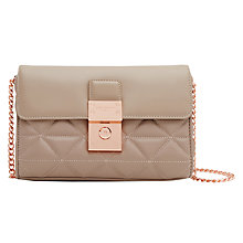 Buy Ted Baker Gloria Quilted  Leather Across Body Bag, Taupe Online at johnlewis.com