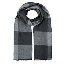 Buy Jaeger Wool Colour Block Check Scarf, Black/Grey Online at johnlewis.com