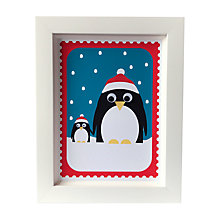 Buy Stripey Cats Limited Edition Christmas Penguins Framed Print Online at johnlewis.com