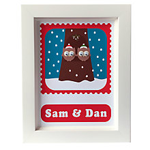 Buy Stripey Cats Personalised Limited Edition Christmas Owls Framed Print Online at johnlewis.com