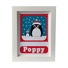 Buy Stripey Cats Personalised Limited Edition Christmas Penguins Framed Print Online at johnlewis.com