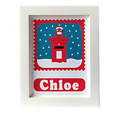 Buy Stripey Cats Personalised Limited Edition Christmas Robin Framed Print Online at johnlewis.com