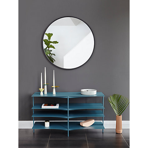 buy umbra hub round mirror black john lewis. Black Bedroom Furniture Sets. Home Design Ideas