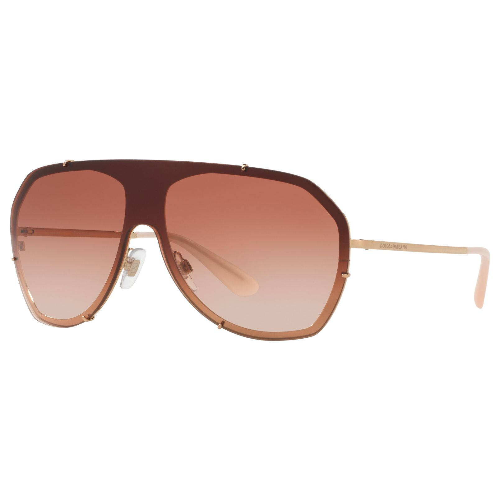 Dolce & Gabbana Dolce & Gabbana DG2162 Aviator Sunglasses, Brown/Rose Gradient