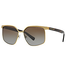 Buy Michael Kors MK1018 August Polarised Square Sunglasses, Gold Tortoise/Brown Gradient Online at johnlewis.com