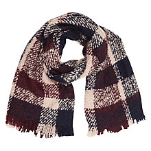 Buy Oasis Boucle Check Scarf, Burgundy Online at johnlewis.com