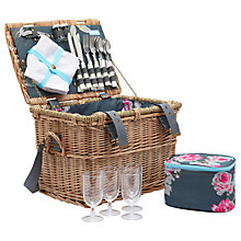 Buy Joules Grey Floral Picnic Hamper, 4 Person Online at johnlewis.com