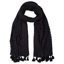 Buy White Stuff Casey Crochet Panel Scarf, Charcoal Online at johnlewis.com