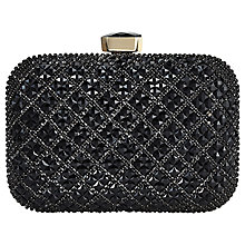 Buy Jacques Vert Stone Embellished Box Clutch Bag, Black Online at johnlewis.com