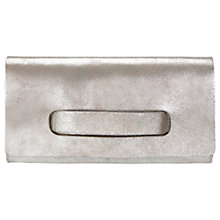 Buy Jigsaw Grayson Leather Clutch, Silver Online at johnlewis.com