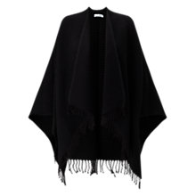 Buy Jigsaw Pleated Fringe Wrap, Black Online at johnlewis.com