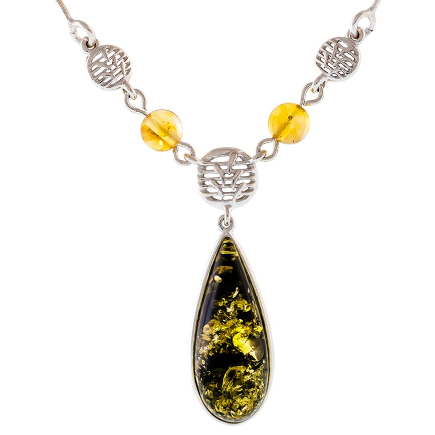 Be-Jewelled Be-Jewelled Sterling Silver Pear Shape Amber Pendant Necklace, Silver/Green